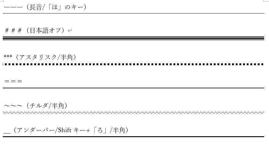 オートフォーマットの罫線の設定