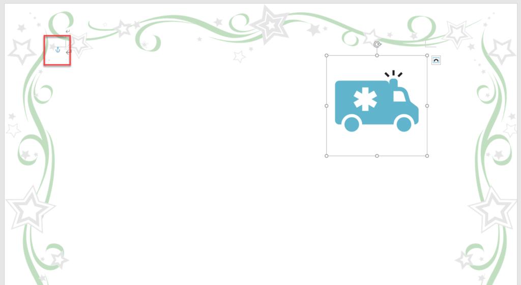 図を選択時に表示されるアンカー記号